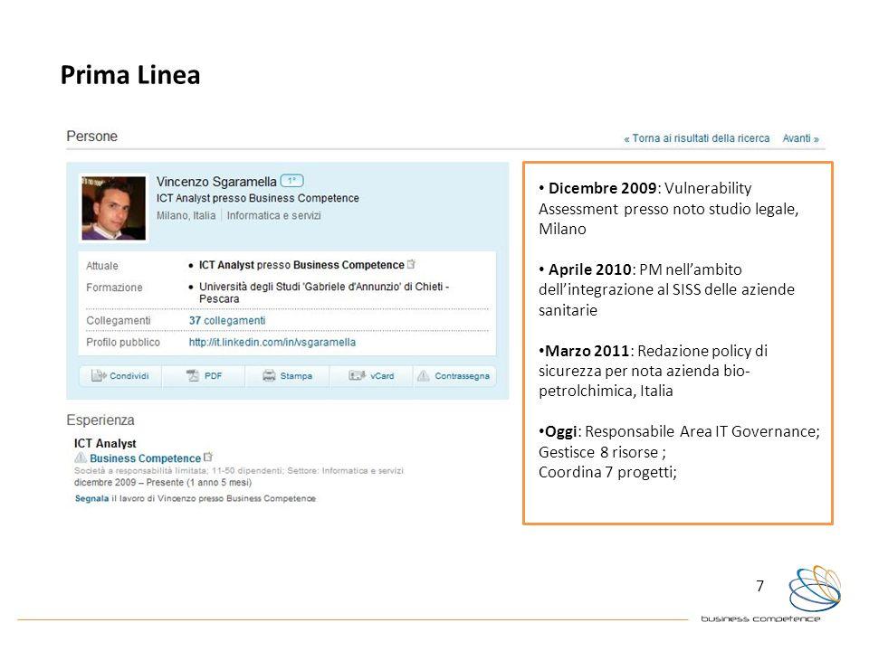 7 Prima Linea Dicembre 2009: Vulnerability Assessment presso noto studio legale, Milano Aprile 2010: PM nellambito dellintegrazione al SISS delle azie