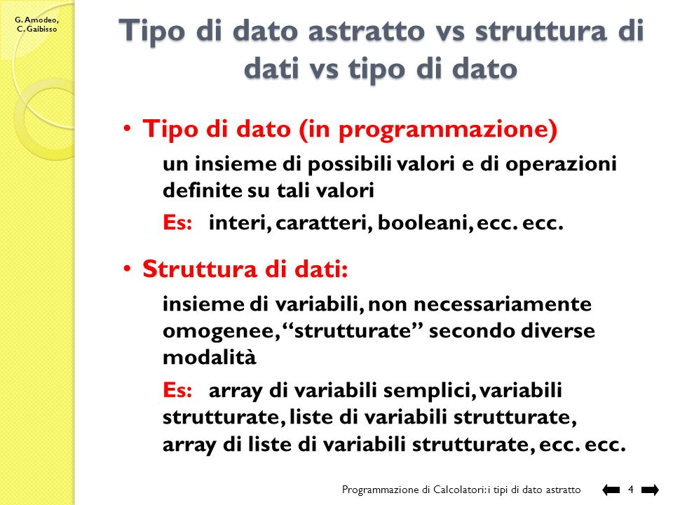 G. Amodeo, C. Gaibisso I tipi di dato astratto Programmazione di Calcolatori: i tipi di dato astratto3 Il tipo di dato astratto booleano: Modello Oper