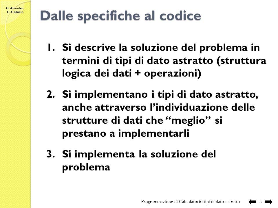 G. Amodeo, C. Gaibisso Tipo di dato astratto vs struttura di dati vs tipo di dato Programmazione di Calcolatori: i tipi di dato astratto4 Tipo di dato