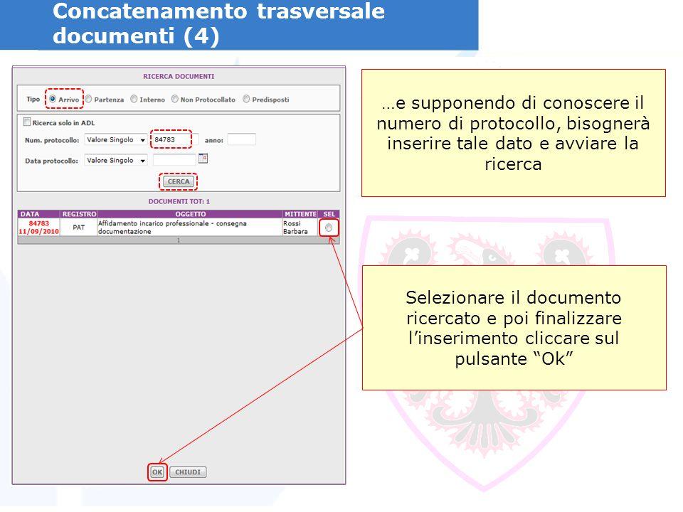 Concatenamento trasversale documenti (4) …e supponendo di conoscere il numero di protocollo, bisognerà inserire tale dato e avviare la ricerca Selezionare il documento ricercato e poi finalizzare linserimento cliccare sul pulsante Ok
