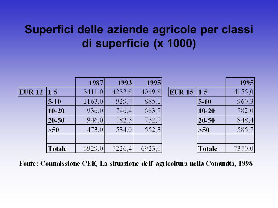 Superfici delle aziende agricole per classi di superficie (x 1000)