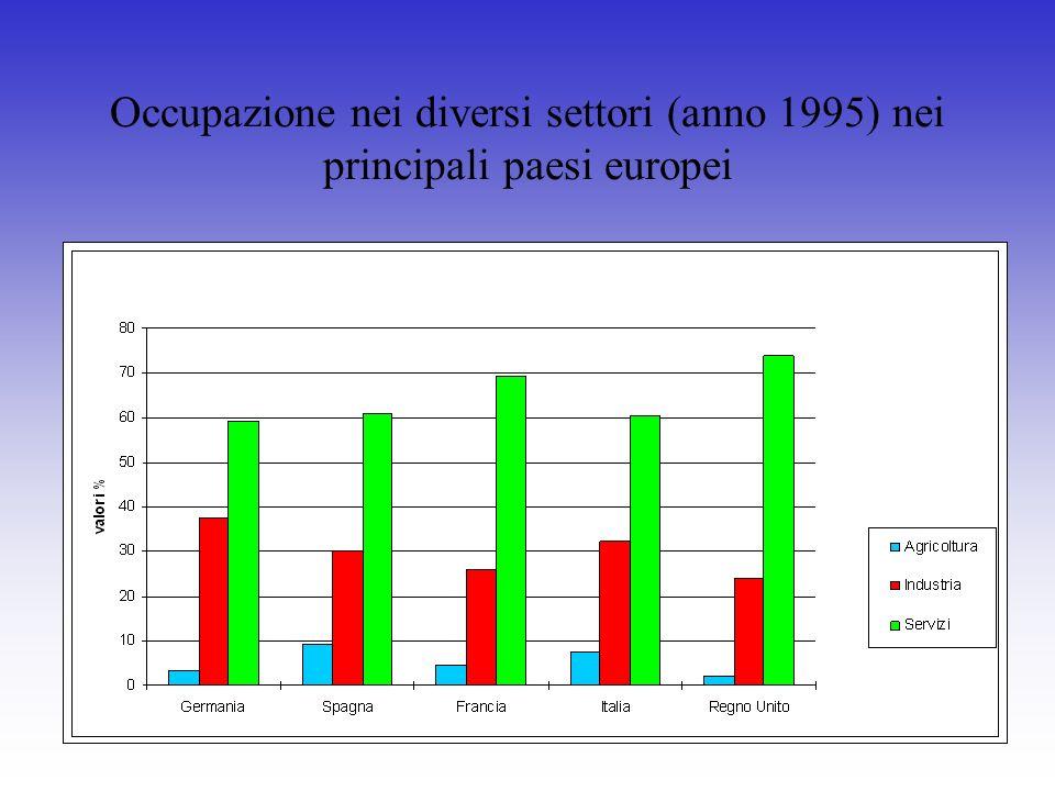 Occupazione nei diversi settori (anno 1995) nei principali paesi europei