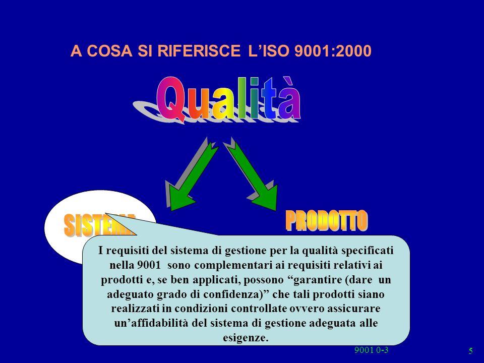 9001 0-3 6 Processi e Procedure Strutture Fornitori Personale Attrezzature Risorse Struttura Organizzativa Officina Commerciale Personale Acquisti Il Sistema di gestione per la Qualità uno dei vari Sistemi di Gestione, è uno dei vari Sistemi di Gestione, È il Sistema per stabilire politica ed obiettivi per la qualità e per conseguire tali obiettivi Il Sistema di gestione per la Qualità uno dei vari Sistemi di Gestione, è uno dei vari Sistemi di Gestione, È il Sistema per stabilire politica ed obiettivi per la qualità e per conseguire tali obiettivi La 9001 può essere utilizzata da parti interne ed esterne allorganizzazione, inclusi gli organismi di certificazione, per valutare la capacità dellorganizzazione a ottemperare ai requisiti del cliente, ai requisiti cogenti ed a quelli stabiliti dallorganizzazione stessa.
