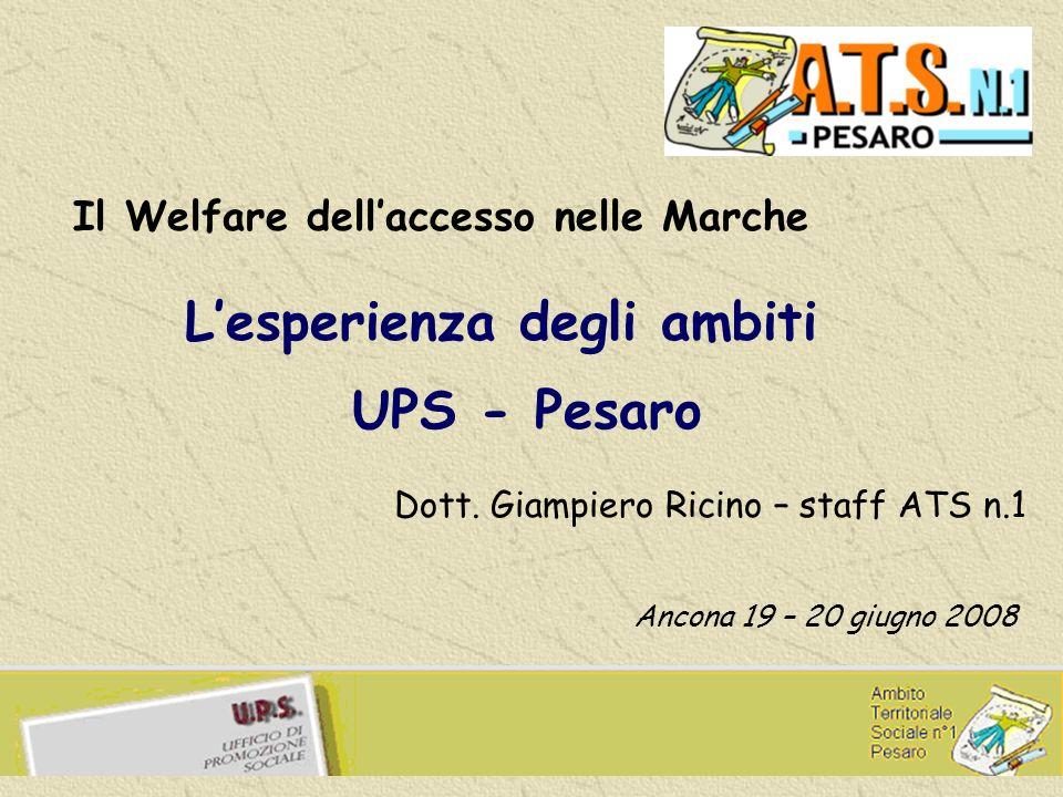Lesperienza degli ambiti UPS - Pesaro Il Welfare dellaccesso nelle Marche Ancona 19 – 20 giugno 2008 Dott.