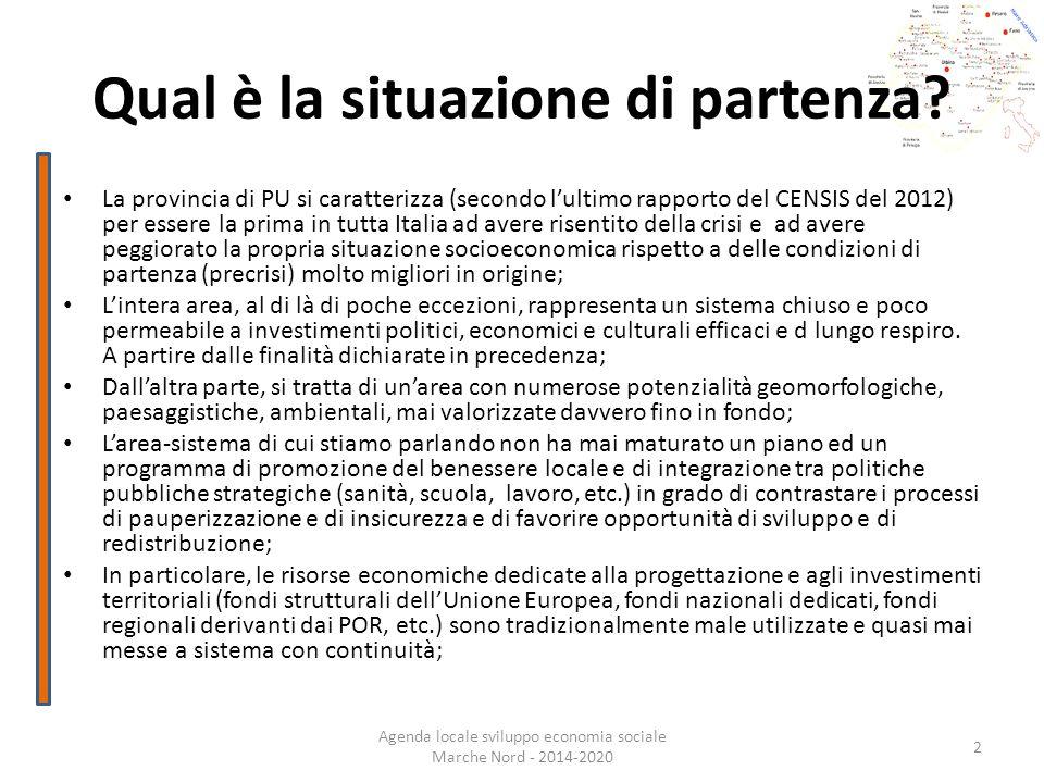 Qual è la situazione di partenza? Agenda locale sviluppo economia sociale Marche Nord - 2014-2020 2 La provincia di PU si caratterizza (secondo lultim