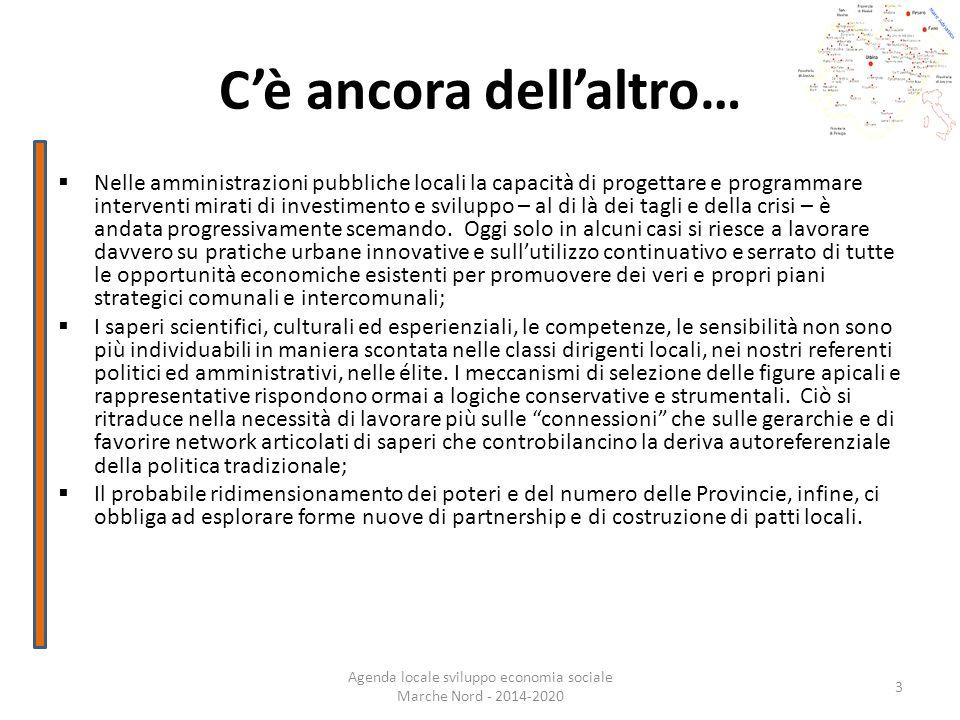 Cè ancora dellaltro… Agenda locale sviluppo economia sociale Marche Nord - 2014-2020 3 Nelle amministrazioni pubbliche locali la capacità di progettar