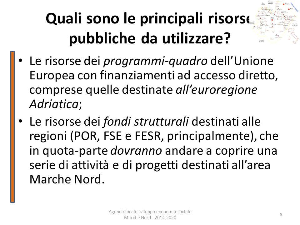 Quali sono le principali risorse pubbliche da utilizzare? Le risorse dei programmi-quadro dellUnione Europea con finanziamenti ad accesso diretto, com