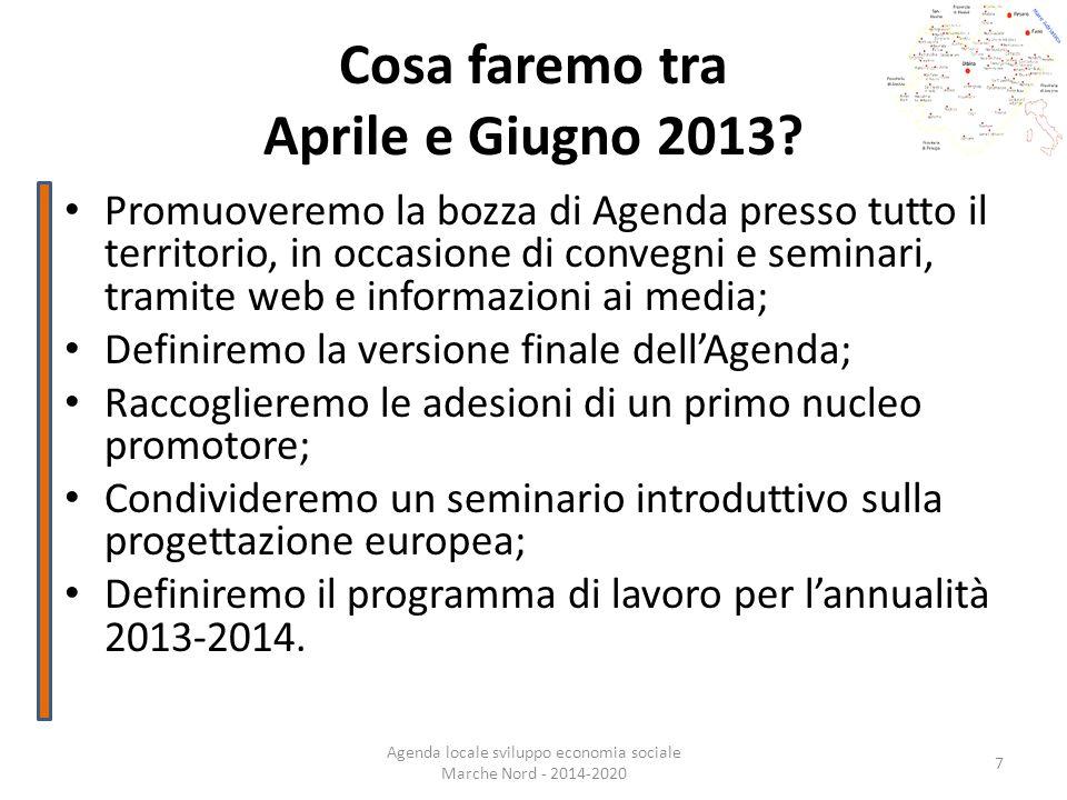 Cosa faremo tra Aprile e Giugno 2013? Promuoveremo la bozza di Agenda presso tutto il territorio, in occasione di convegni e seminari, tramite web e i