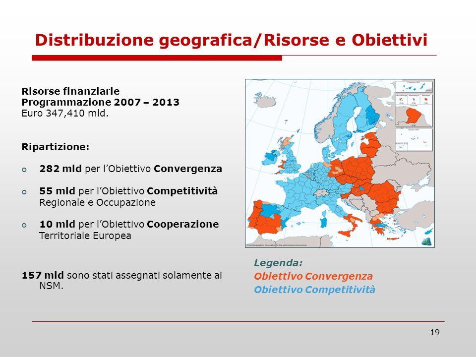 19 Legenda: Obiettivo Convergenza Obiettivo Competitività Risorse finanziarie Programmazione 2007 – 2013 Euro 347,410 mld. Ripartizione: 282 mld per l