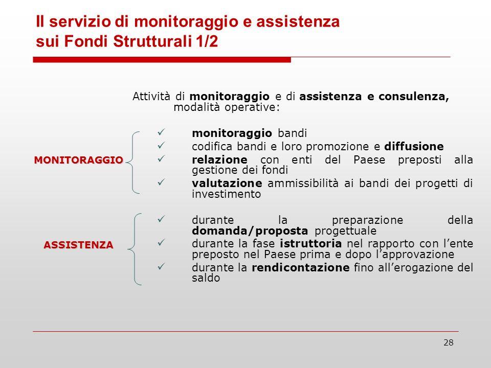28 Attività di monitoraggio e di assistenza e consulenza, modalità operative: monitoraggio bandi codifica bandi e loro promozione e diffusione relazio