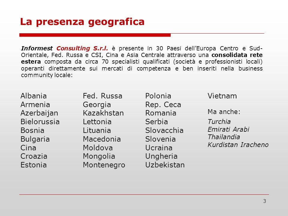 3 La presenza geografica Informest Consulting S.r.l. è presente in 30 Paesi dellEuropa Centro e Sud- Orientale, Fed. Russa e CSI, Cina e Asia Centrale