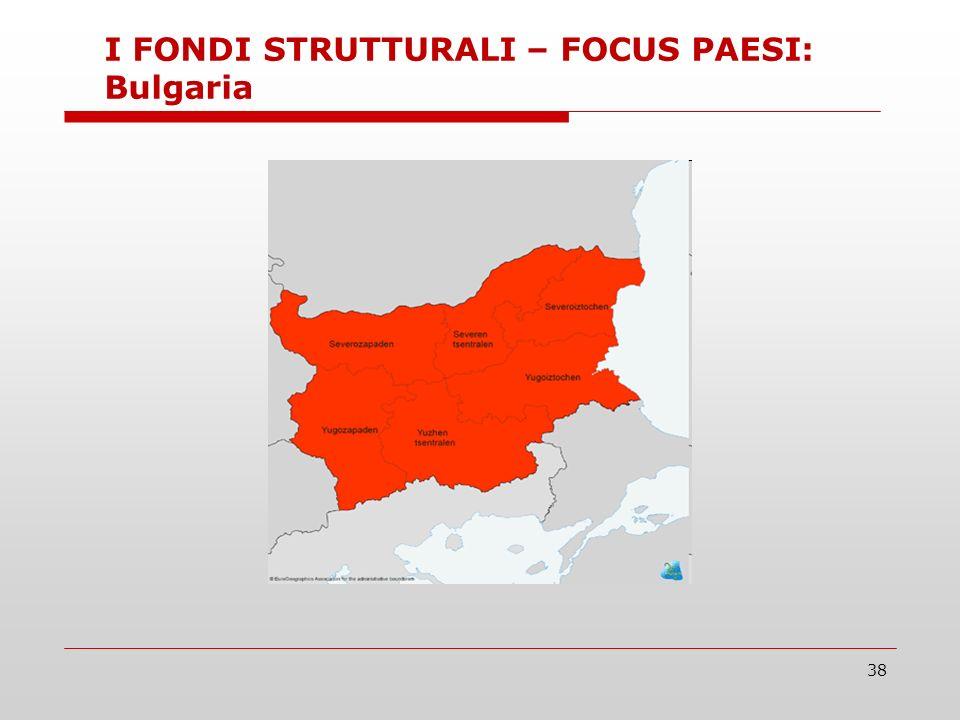 38 I FONDI STRUTTURALI – FOCUS PAESI: Bulgaria