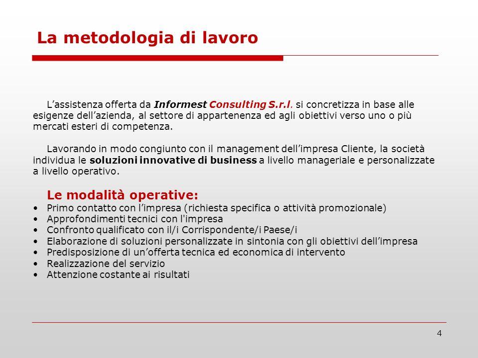 4 Lassistenza offerta da Informest Consulting S.r.l. si concretizza in base alle esigenze dellazienda, al settore di appartenenza ed agli obiettivi ve