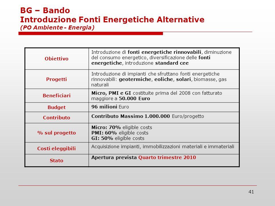 41 BG – Bando Introduzione Fonti Energetiche Alternative (PO Ambiente - Energia) Obiettivo Introduzione di fonti energetiche rinnovabili, diminuzione del consumo energetico, diversificazione delle fonti energetiche, introduzione standard cee Progetti Introduzione di impianti che sfruttano fonti energetiche rinnovabili: geotermiche, eoliche, solari, biomasse, gas naturali Beneficiari Micro, PMI e GI costituite prima del 2008 con fatturato maggiore a 50.000 Euro Budget 96 milioni Euro Contributo Contributo Massimo 1.000.000 Euro/progetto % sul progetto Micro: 70% eligible costs PMI: 60% eligible costs GI: 50% eligible costs Costi eleggibili Acquisizione impianti, immobilizzazioni materiali e immateriali Stato Apertura prevista Quarto trimestre 2010