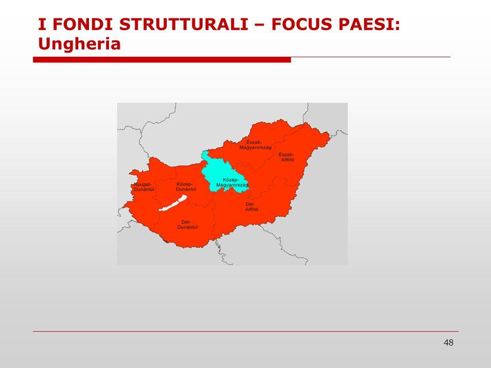 48 I FONDI STRUTTURALI – FOCUS PAESI: Ungheria