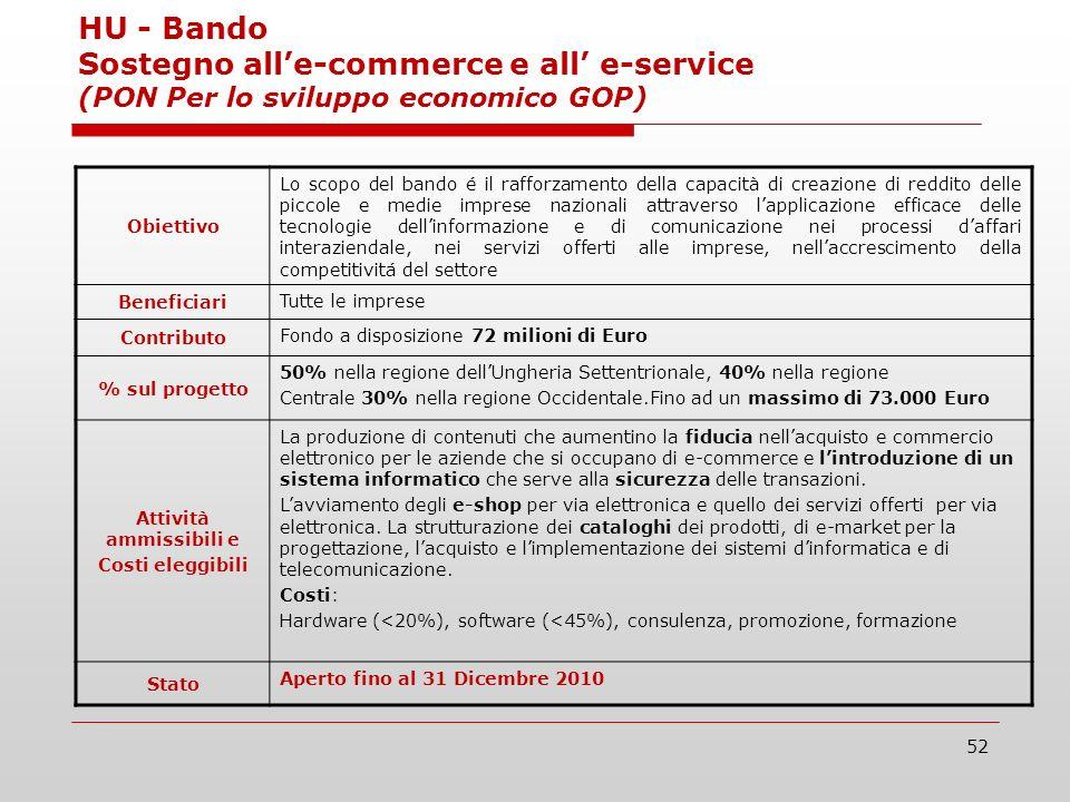 52 HU - Bando Sostegno alle-commerce e all e-service (PON Per lo sviluppo economico GOP) Obiettivo Lo scopo del bando é il rafforzamento della capacit