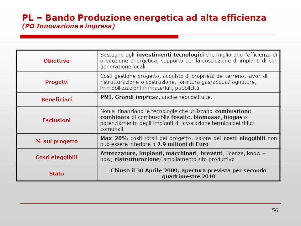56 PL – Bando Produzione energetica ad alta efficienza (PO Innovazione e impresa) Obiettivo Sostegno agli investimenti tecnologici che migliorano leff