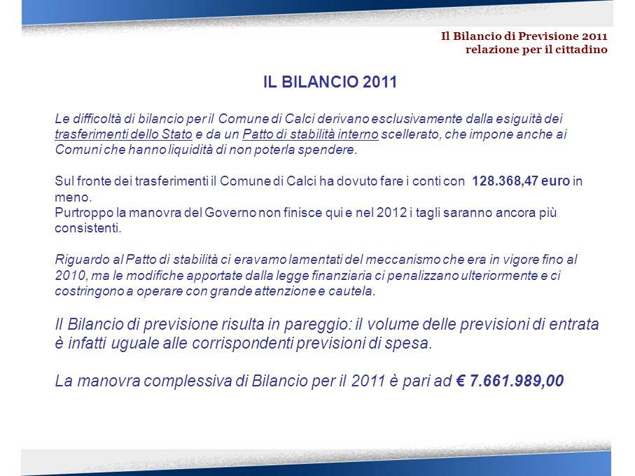 Il Bilancio di Previsione 2011 relazione per il cittadino