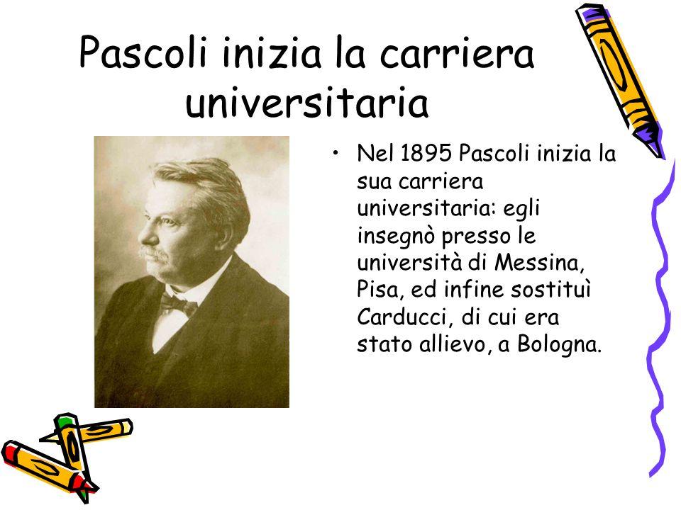 Pascoli inizia la carriera universitaria Nel 1895 Pascoli inizia la sua carriera universitaria: egli insegnò presso le università di Messina, Pisa, ed