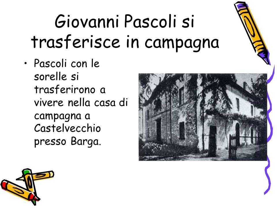 Giovanni Pascoli si trasferisce in campagna Pascoli con le sorelle si trasferirono a vivere nella casa di campagna a Castelvecchio presso Barga.