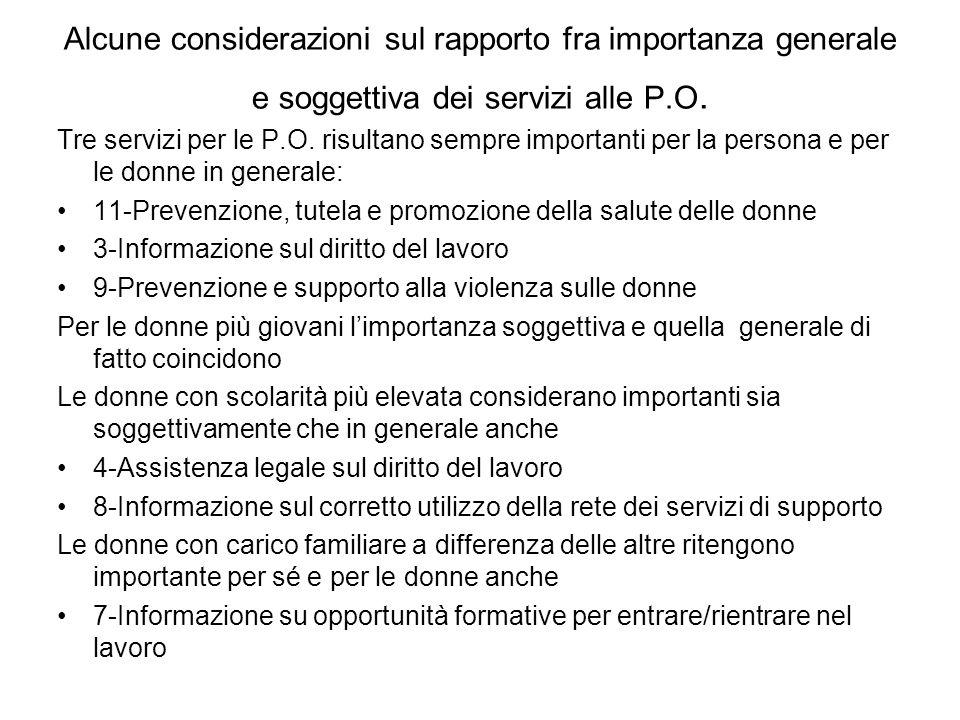 Alcune considerazioni sul rapporto fra importanza generale e soggettiva dei servizi alle P.O. Tre servizi per le P.O. risultano sempre importanti per