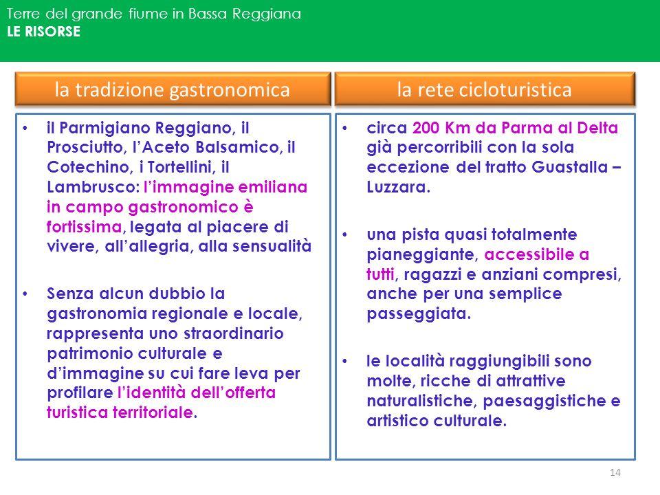 Terre del grande fiume in Bassa Reggiana LE RISORSE la tradizione gastronomica il Parmigiano Reggiano, il Prosciutto, lAceto Balsamico, il Cotechino,