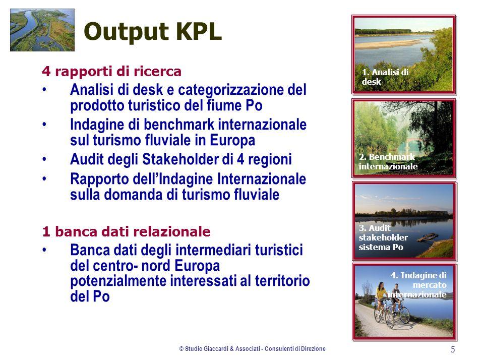 © Studio Giaccardi & Associati - Consulenti di Direzione 5 Output KPL 4 rapporti di ricerca Analisi di desk e categorizzazione del prodotto turistico