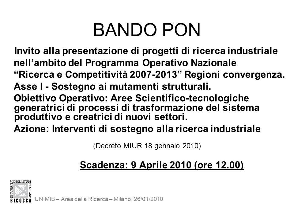 BANDO PON Invito alla presentazione di progetti di ricerca industriale nellambito del Programma Operativo Nazionale Ricerca e Competitività 2007-2013 Regioni convergenza.