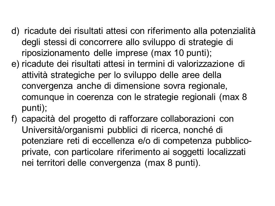 d) ricadute dei risultati attesi con riferimento alla potenzialità degli stessi di concorrere allo sviluppo di strategie di riposizionamento delle imprese (max 10 punti); e)ricadute dei risultati attesi in termini di valorizzazione di attività strategiche per lo sviluppo delle aree della convergenza anche di dimensione sovra regionale, comunque in coerenza con le strategie regionali (max 8 punti); f)capacità del progetto di rafforzare collaborazioni con Università/organismi pubblici di ricerca, nonché di potenziare reti di eccellenza e/o di competenza pubblico- private, con particolare riferimento ai soggetti localizzati nei territori delle convergenza (max 8 punti).