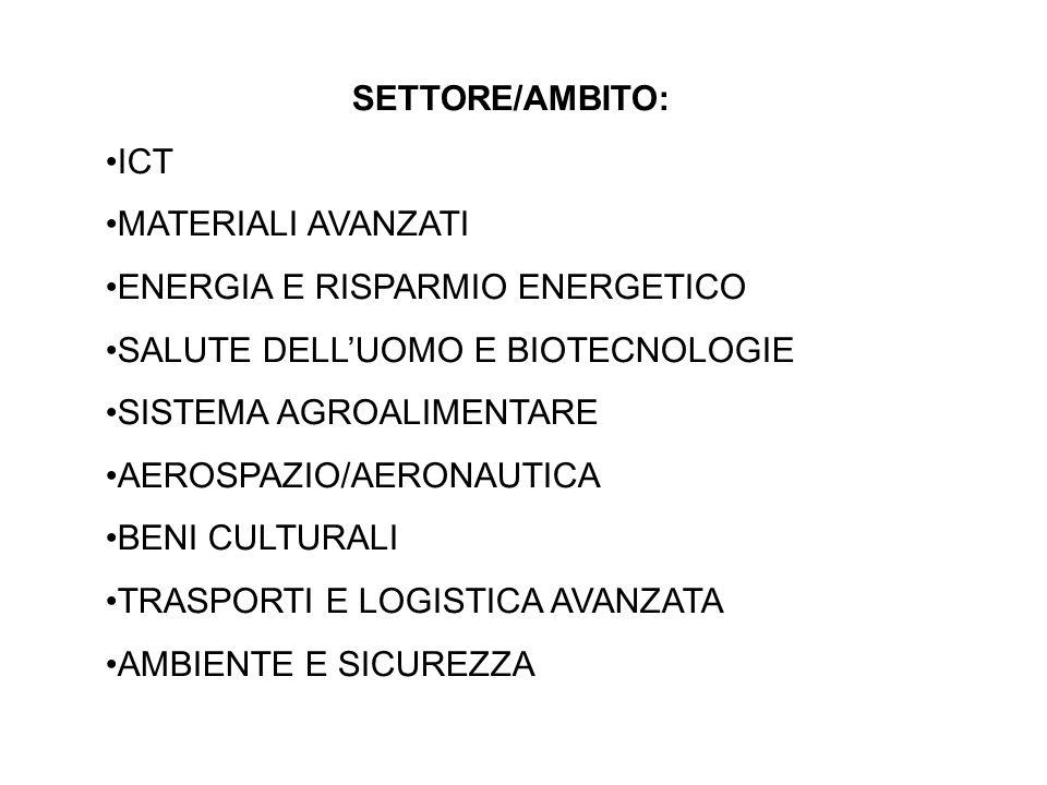 SETTORE/AMBITO: ICT MATERIALI AVANZATI ENERGIA E RISPARMIO ENERGETICO SALUTE DELLUOMO E BIOTECNOLOGIE SISTEMA AGROALIMENTARE AEROSPAZIO/AERONAUTICA BENI CULTURALI TRASPORTI E LOGISTICA AVANZATA AMBIENTE E SICUREZZA