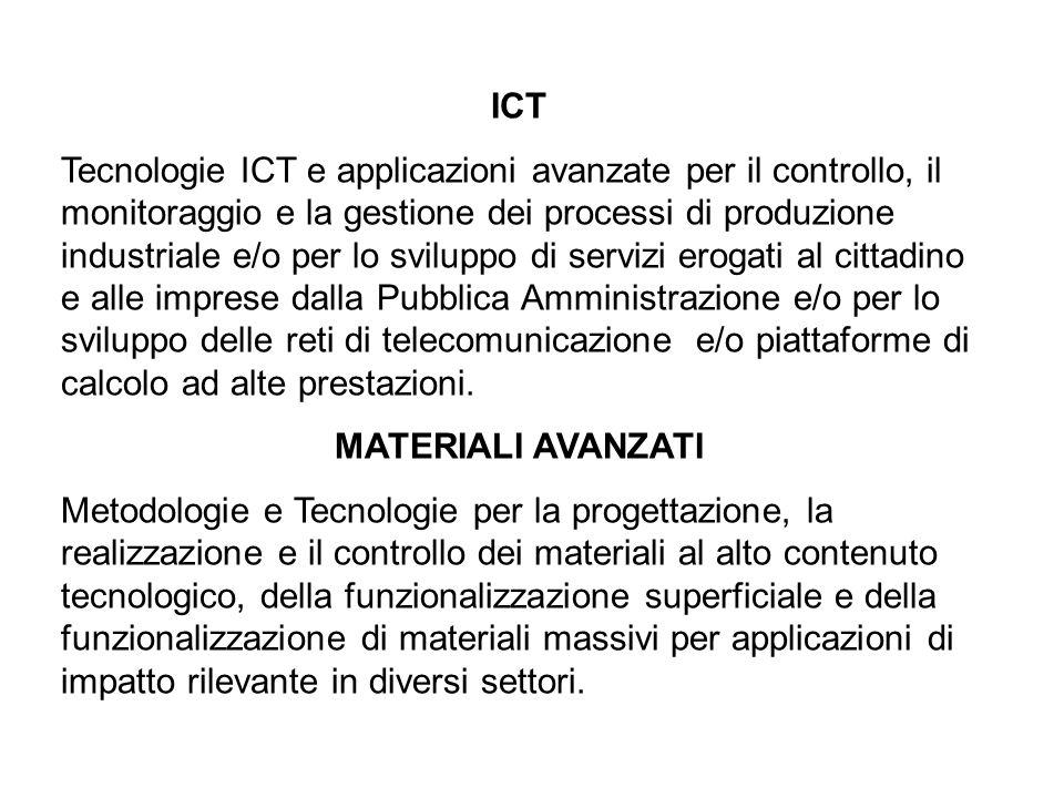 ICT Tecnologie ICT e applicazioni avanzate per il controllo, il monitoraggio e la gestione dei processi di produzione industriale e/o per lo sviluppo di servizi erogati al cittadino e alle imprese dalla Pubblica Amministrazione e/o per lo sviluppo delle reti di telecomunicazione e/o piattaforme di calcolo ad alte prestazioni.