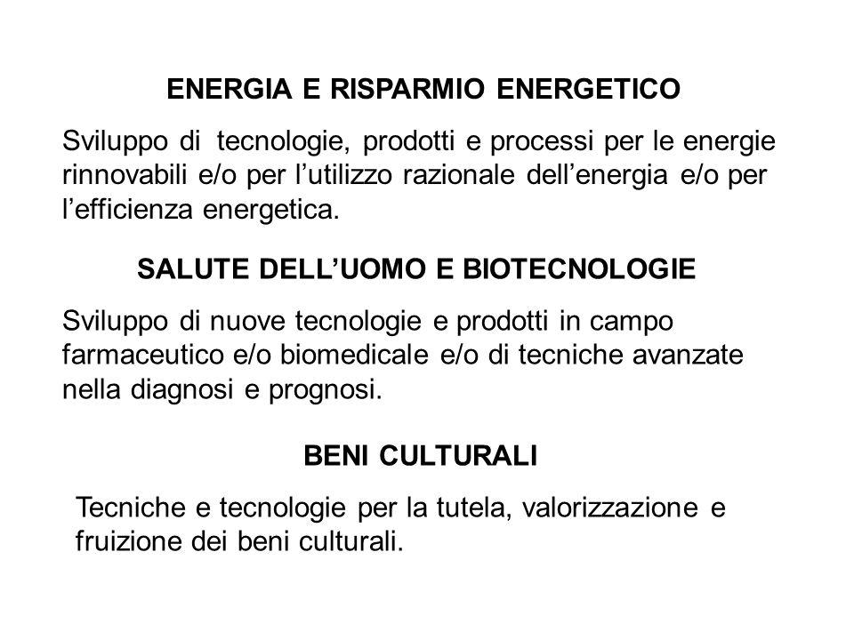 ENERGIA E RISPARMIO ENERGETICO Sviluppo di tecnologie, prodotti e processi per le energie rinnovabili e/o per lutilizzo razionale dellenergia e/o per lefficienza energetica.