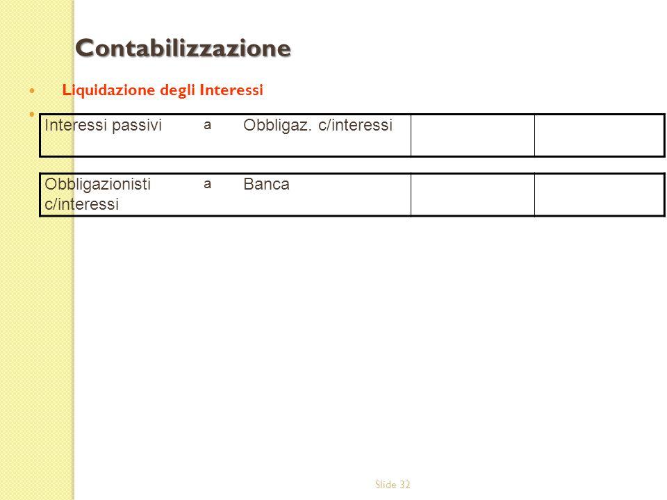 Slide 32 Liquidazione degli Interessi Contabilizzazione Interessi passivi a Obbligaz. c/interessi Obbligazionisti c/interessi a Banca