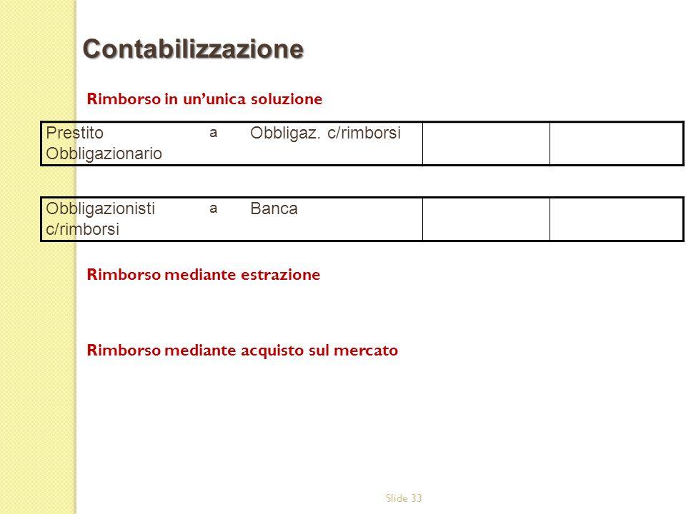 Slide 33 Rimborso in ununica soluzione Rimborso mediante estrazione Rimborso mediante acquisto sul mercato Contabilizzazione Prestito Obbligazionario