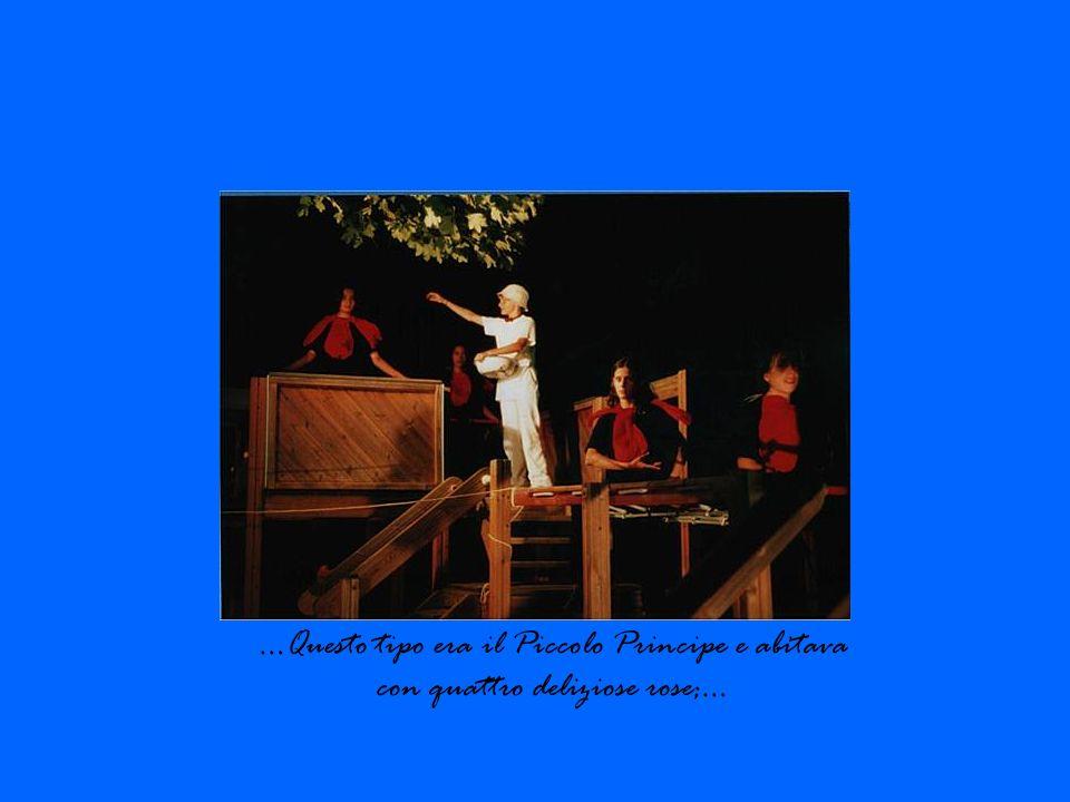 Interpreti Personaggi Gennari Andrea Trono, ubriacone, narratore Gissi Federica Rosa, re, vestitrice della vanitosa, festeggiante Kadogo Solange Rosa, trono, vestitrice della vanitosa, lampione, festeggiante, volpe, morte Menciotti Sara Rosa, vanitosa Migliola Martina Rosa, trono, vestitrice della vanitosa, festeggiante, aiutante del piccolo principe dietro al balcone, angelo Paolucci Giacomo Aviatore Paolucci Isabella Piccolo principe Tecnico audio e luci Radicioni Manuel