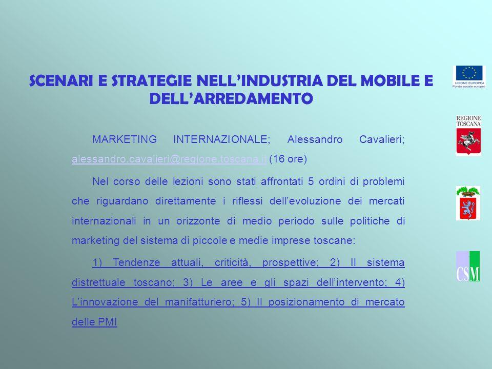 SCENARI E STRATEGIE NELLINDUSTRIA DEL MOBILE E DELLARREDAMENTO MARKETING INTERNAZIONALE; Alessandro Cavalieri; alessandro.cavalieri@regione.toscana.it