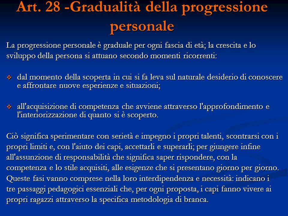 Art. 28 -Gradualità della progressione personale La progressione personale è graduale per ogni fascia di età; la crescita e lo sviluppo della persona