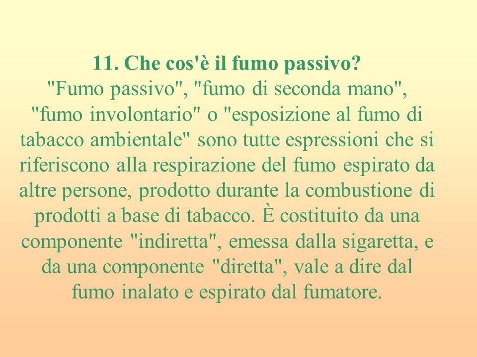 11.Che cos è il fumo passivo.