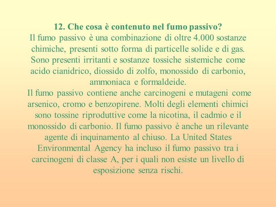 12.Che cosa è contenuto nel fumo passivo.