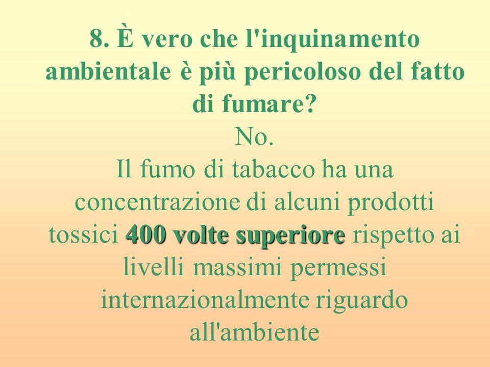 400 volte superiore 8.È vero che l inquinamento ambientale è più pericoloso del fatto di fumare.