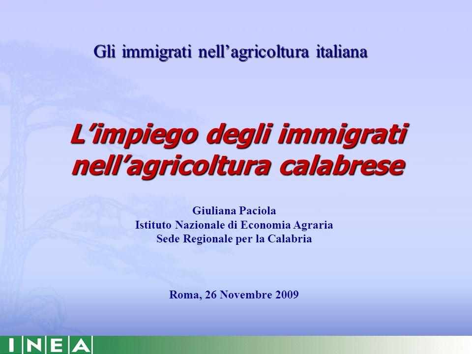Limpiego degli immigrati nellagricoltura calabrese Gli immigrati nellagricoltura italiana Giuliana Paciola Istituto Nazionale di Economia Agraria Sede