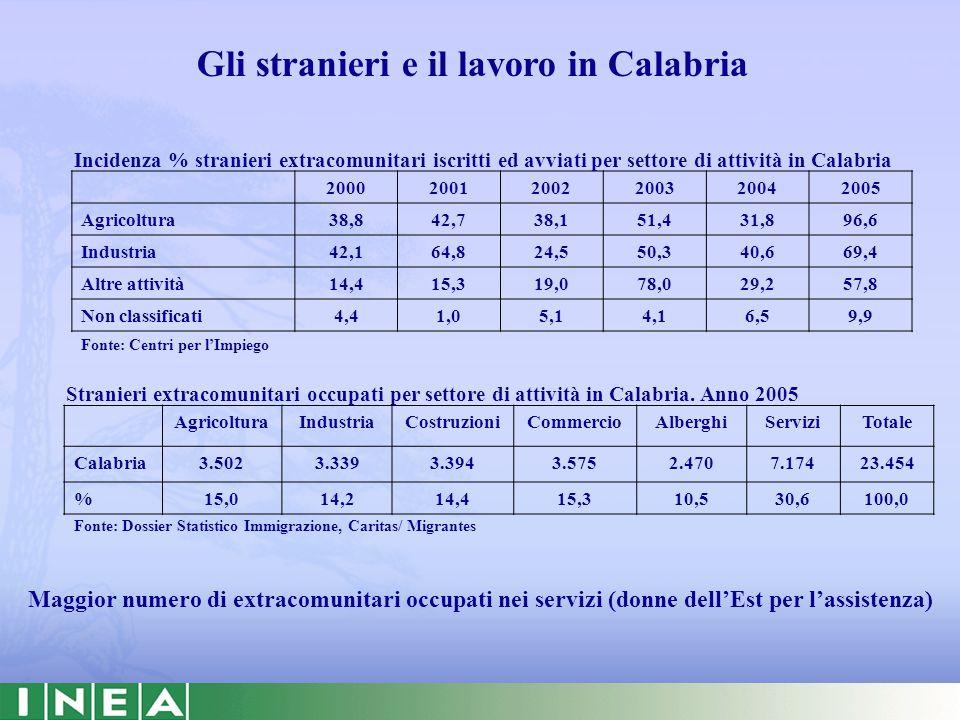 Gli stranieri e il lavoro in Calabria 200020012002200320042005 Agricoltura38,842,738,151,431,896,6 Industria42,164,824,550,340,669,4 Altre attività14,