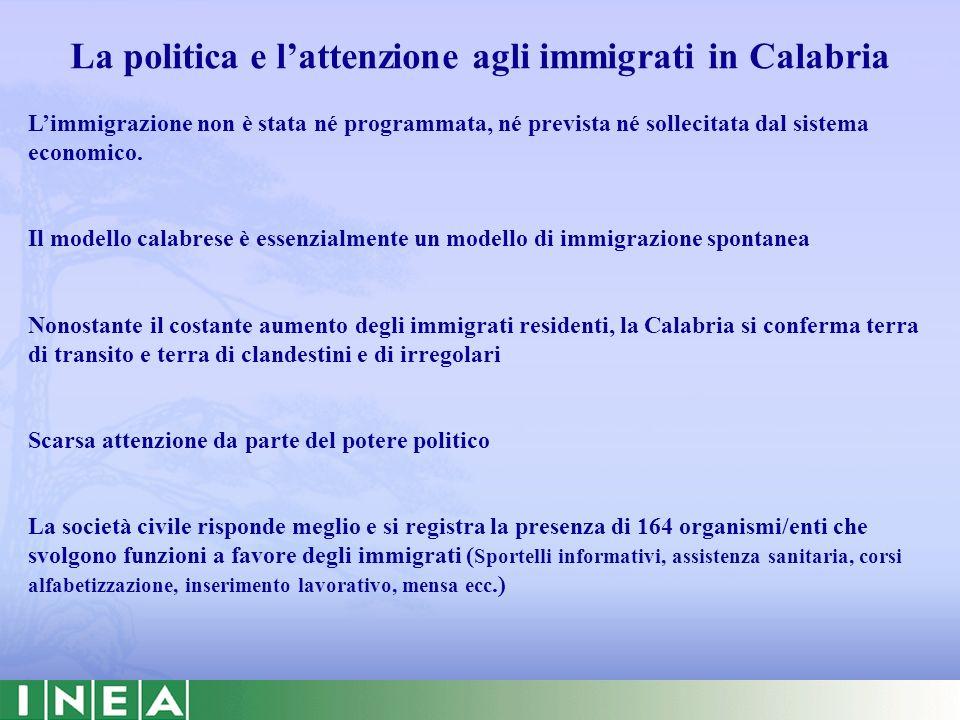 Gli immigrati e lagricoltura in Calabria Si stima che nel 2007 gli immigrati extracomunitari impiegati nelle aziende agricole calabresi siano stati circa 9.350 gli immigrati in Calabria sono: sempre più numerosi impiegati prevalentemente in agricoltura con condizioni di vita e di lavoro preoccupanti