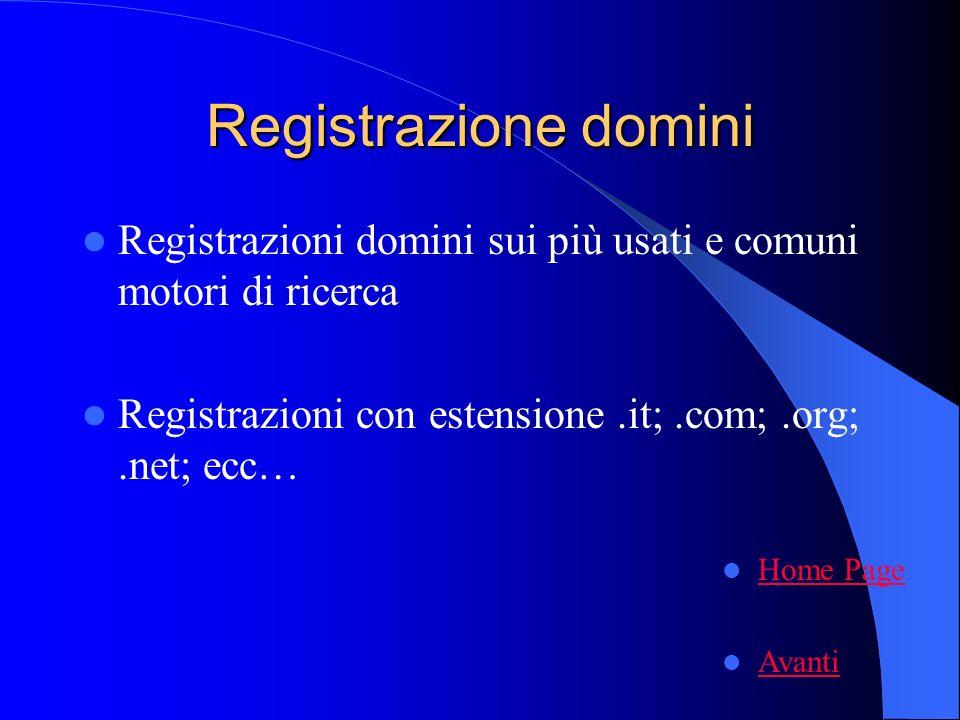 Registrazione domini Registrazioni domini sui più usati e comuni motori di ricerca Registrazioni con estensione.it;.com;.org;.net; ecc… Home Page Avanti