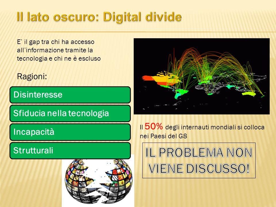 E il gap tra chi ha accesso allinformazione tramite la tecnologia e chi ne è escluso Ragioni: Il 50% degli internauti mondiali si colloca nei Paesi del G8 DisinteresseSfiducia nella tecnologiaIncapacitàStrutturali