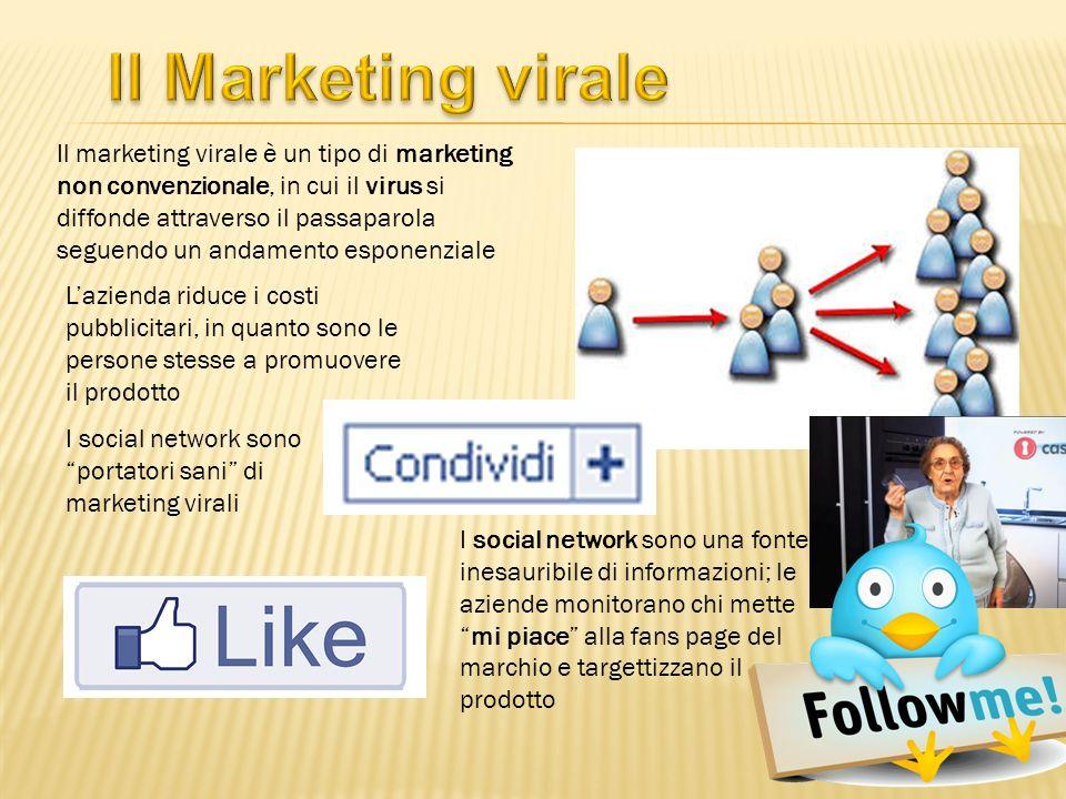 Il marketing virale è un tipo di marketing non convenzionale, in cui il virus si diffonde attraverso il passaparola seguendo un andamento esponenziale Lazienda riduce i costi pubblicitari, in quanto sono le persone stesse a promuovere il prodotto I social network sono una fonte inesauribile di informazioni; le aziende monitorano chi mettemi piace alla fans page del marchio e targettizzano il prodotto I social network sono portatori sani di marketing virali