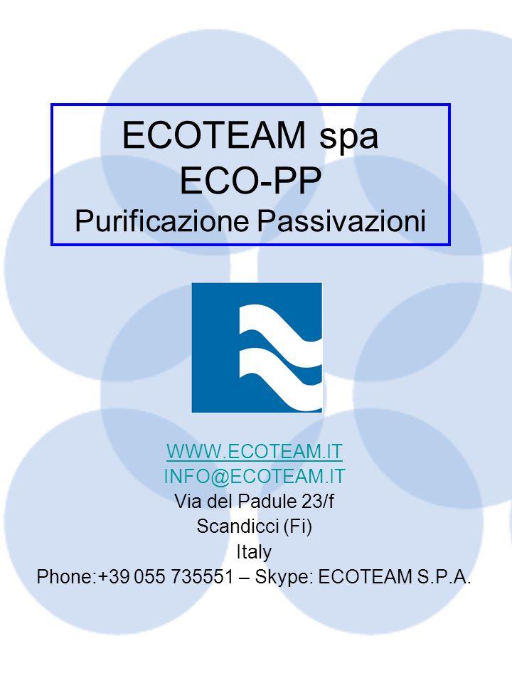 ECOTEAM spa ECO-PP Purificazione Passivazioni WWW.ECOTEAM.IT INFO@ECOTEAM.IT Via del Padule 23/f Scandicci (Fi) Italy Phone:+39 055 735551 – Skype: EC