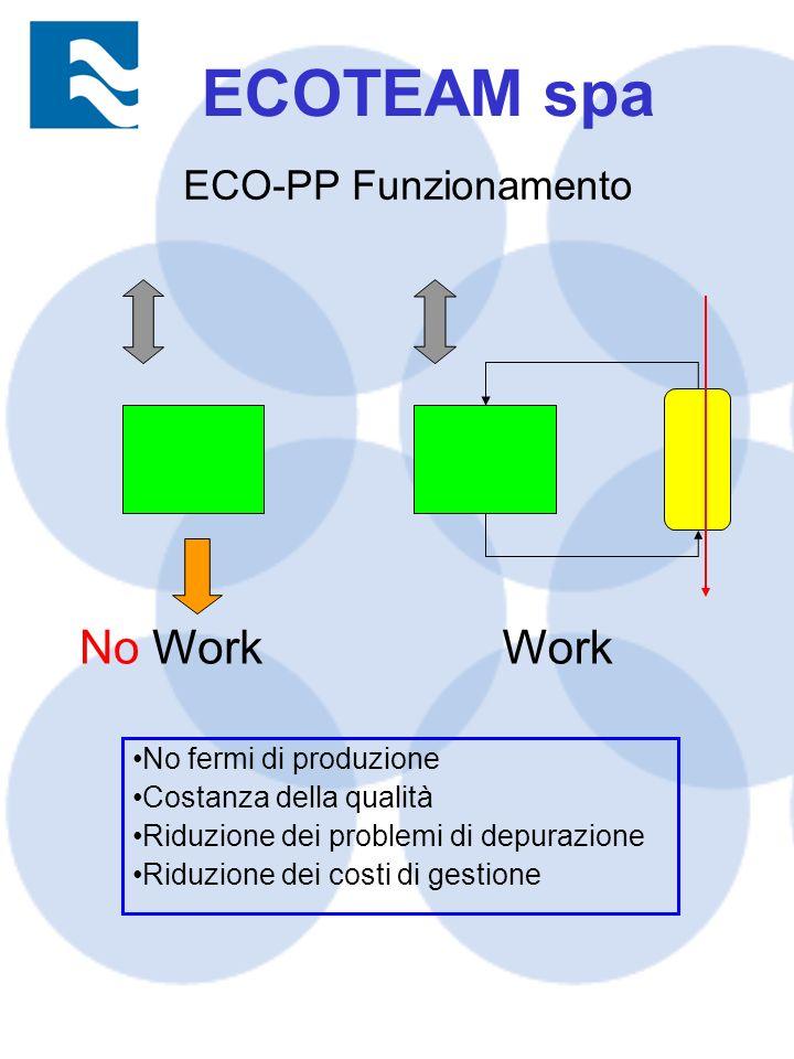 No fermi di produzione Costanza della qualità Riduzione dei problemi di depurazione Riduzione dei costi di gestione ECO-PP Funzionamento Work No ECOTEAM spa