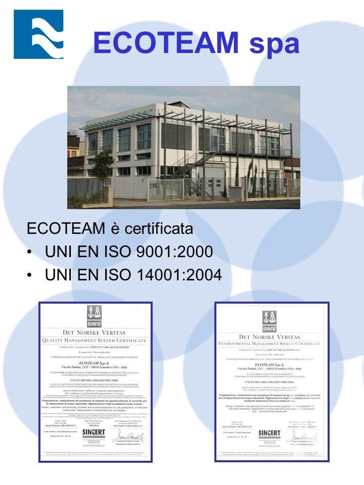 ECOTEAM è certificata UNI EN ISO 9001:2000 UNI EN ISO 14001:2004 ECOTEAM spa
