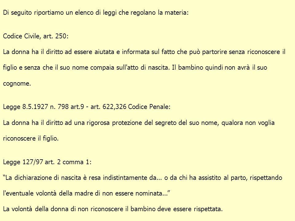 Di seguito riportiamo un elenco di leggi che regolano la materia: Codice Civile, art. 250: La donna ha il diritto ad essere aiutata e informata sul fa